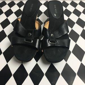 SZ 8 Blk Nine West Sandals Wedges